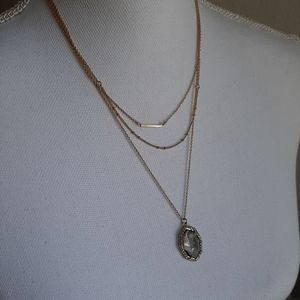Bauble bar layered necklace gold with a stone